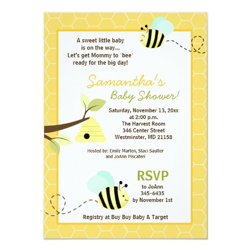 Bumble Bee Baby Shower Invitation 4.25 x 6.5 Size