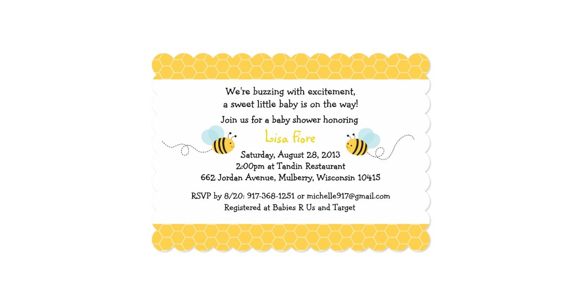 bumble bee baby shower invitations zazzle
