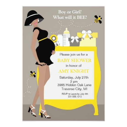 Bumble Bee Baby Shower Invitations - African Ameri | Zazzle