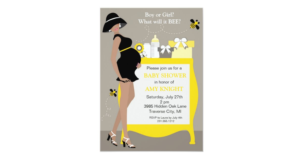 Bumble Bee Baby Shower Invitations - African Ameri | Zazzle.com