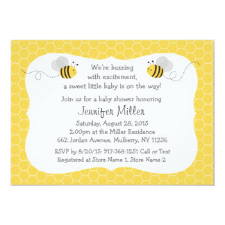Bumble Bee Baby Shower Invitations Gender Neutral
