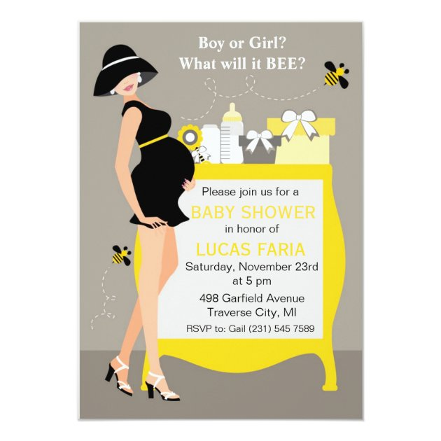 Bumble Bee Baby Shower Invitations Gender Reveal
