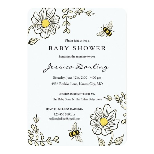 Bumble bee baby shower invitations yellow floral zazzle bumble bee baby shower invitations yellow floral filmwisefo