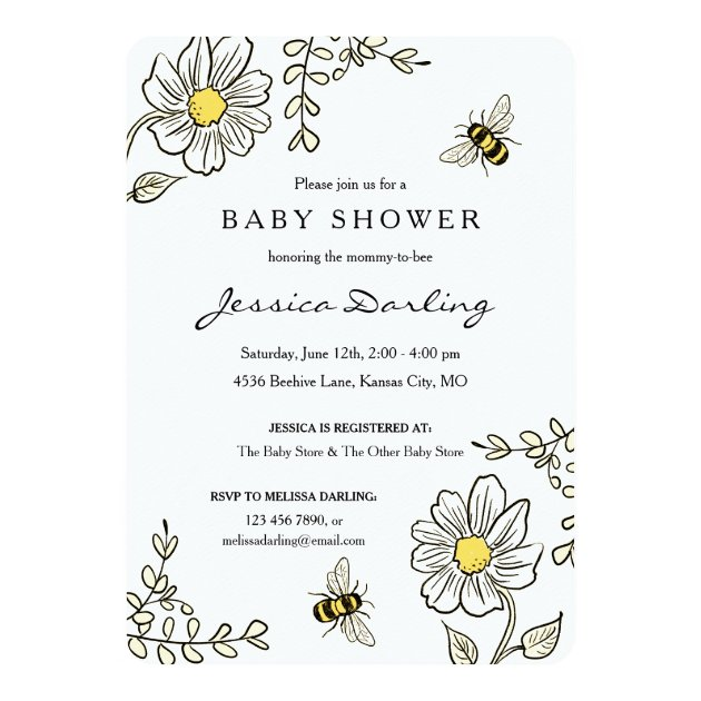 Baby Girl Shower Invitations Classy Floral Theme Mimoprints
