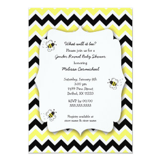 """Bumble Bee Baby Shower invites / what will it bee 5"""" X 7"""" Invitation Card"""