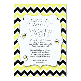Bumble Bee Baby Shower Thank You Note with poem Card