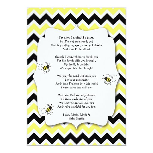 bumble bee baby shower thank you note with poem card zazzle