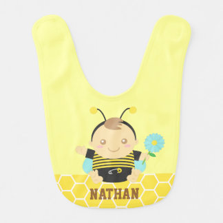 Bumble Bee Baby with Flower, Baby Bib