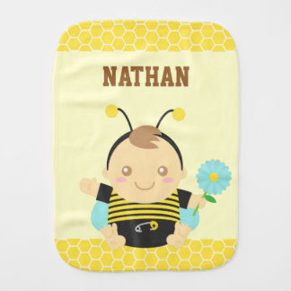 Bumble Bee Baby with Flower, Yellow Burp Cloth