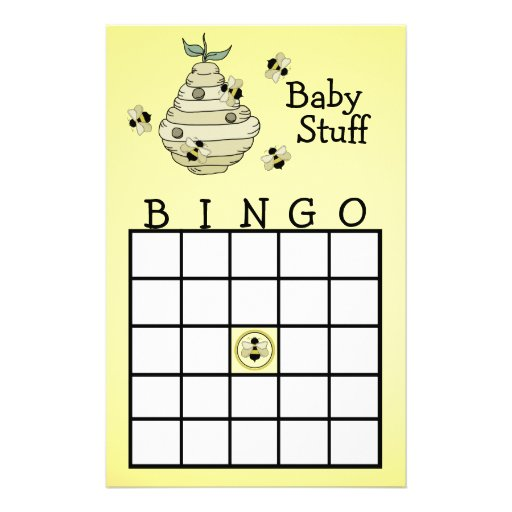 Bumble Bee Bingo party game Stationery Paper