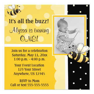 Bumble Bee Birthday Invitation