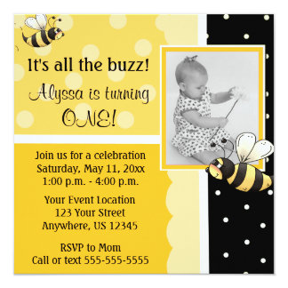 Bumble Bee Birthday Invitation
