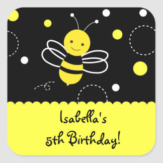 Bumble Bee Birthday Party Favor Stckers Labels Square Sticker