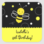 Bumble Bee Birthday Party Favor Stckers Labels Square Stickers