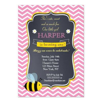 Honey bee birthday invite zazzle filmwisefo Images