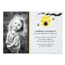 "Bumble Bee Birthday Party Invitations 5"" X 7"" Invitation Card"
