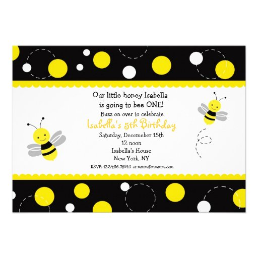 Personalized honey bee invitations custominvitations4u bumble bee birthday party invitations filmwisefo