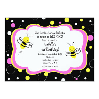 """Bumble Bee Birthday Party Invitations pink 5"""" X 7"""" Invitation Card"""
