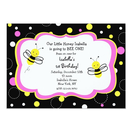 "Bumble Bee Birthday Party Invitations pink 5"" X 7"" Invitation Card"