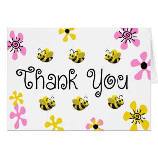 Bumble Bee Birthday Party Thank You Card