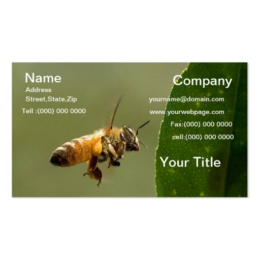 Bumble bee business card zazzle for Bee business cards