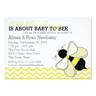Bumble Bee Buzz Baby Shower 5x7 Paper Invitation Card
