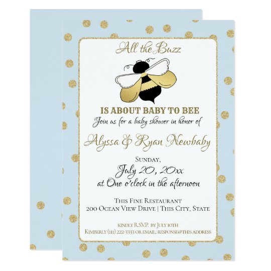 Ble Bee Buzz Baby Shower Blue