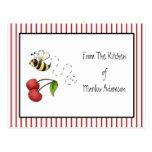 Bumble Bee Cherries Recipe Cards Postcard