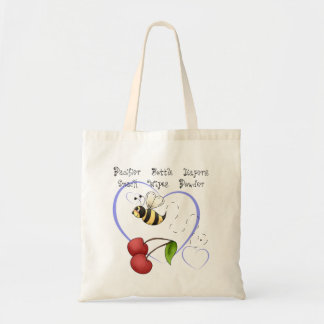 Bumble Bee Cherry Blue Heart Baby Supplies Tote Bag