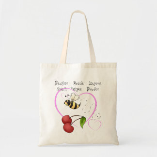 Bumble Bee Cherry Pink Heart Baby Supplies Tote Bag