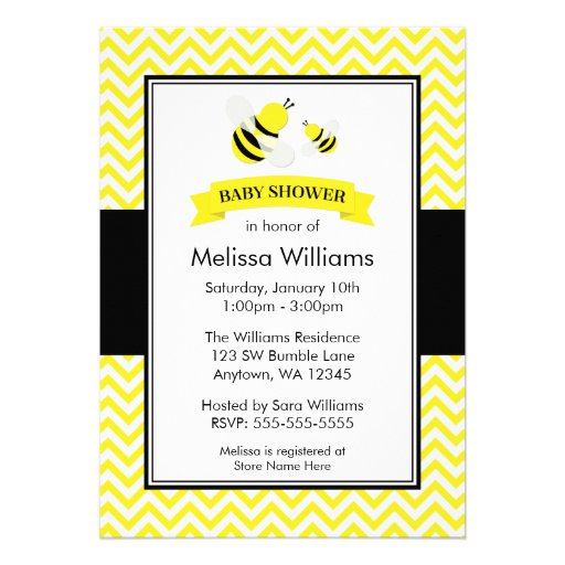 Bumble Bee Chevron Baby Shower Invitations