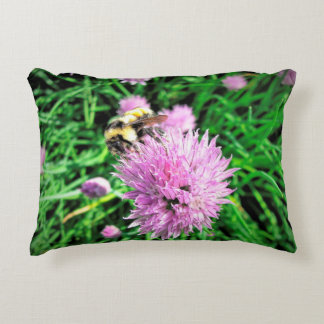 Bumble Bee Chives Flower Accent Pillow