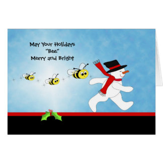 Bumble Bee Christmas Greeting Card with Snowman