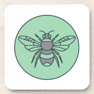 Bumble Bee Circle Mono Line Drink Coaster