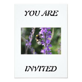 "Bumble Bee Collecting Pollen Invitation 5"" X 7"" Invitation Card"