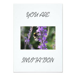 """Bumble Bee Collecting Pollen You Are Invited 5"""" X 7"""" Invitation Card"""