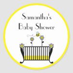 Bumble Bee Crib Baby Shower Classic Round Sticker