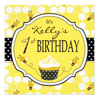 Bumble Bee Cupcake First Birthday Custom Invites