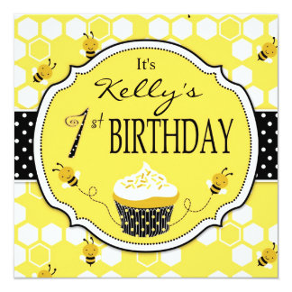 Bumble Bee Cupcake First Birthday 5.25x5.25 Square Paper Invitation Card