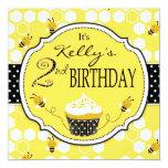 Bumble Bee Cupcake Second Birthday Custom Invites