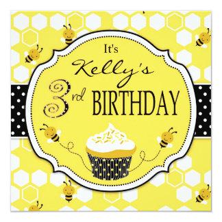 Bumble Bee Cupcake Third Birthday 5.25x5.25 Square Paper Invitation Card