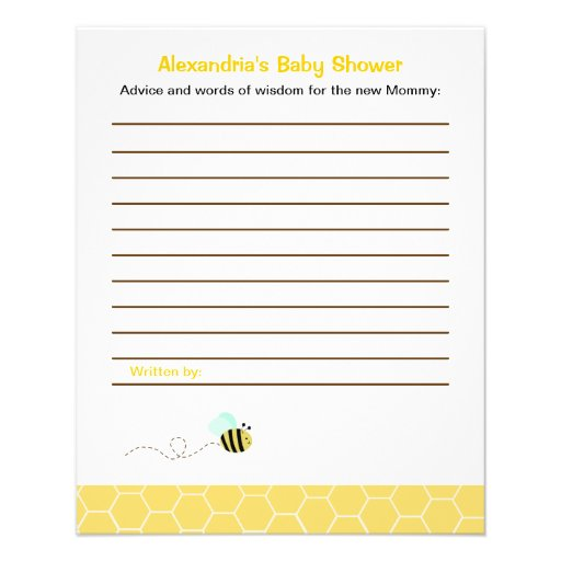 Bumble Bee Custom Flyer Baby Shower Advice Cards : Zazzle
