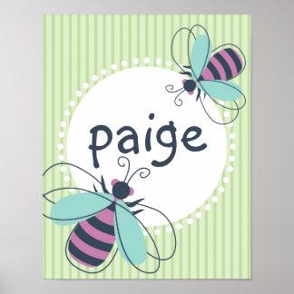 Bumble Bee Custom Name Kid Poster