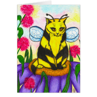 Bumble Bee Fairy Cat Fantasy Art Card