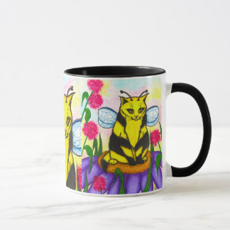Bumble Bee Fairy Cat Fantasy Art Mug