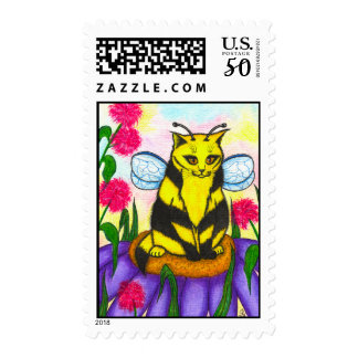 Bumble Bee Fairy Cat Fantasy Art Postage