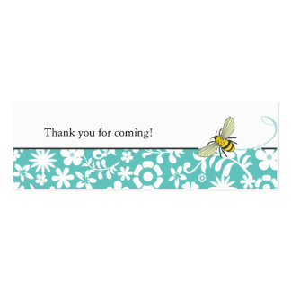 Bumble Bee Favor Tag  |  Blue Double-Sided Mini Business Cards (Pack Of 20)