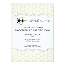 Bumble Bee First birthday party invite ONE