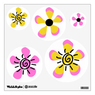 Bumble Bee Flowers Baby Girl Shower Wall Sticker