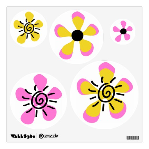 Bumble Bee Flowers Baby Girl Shower Wall Skins